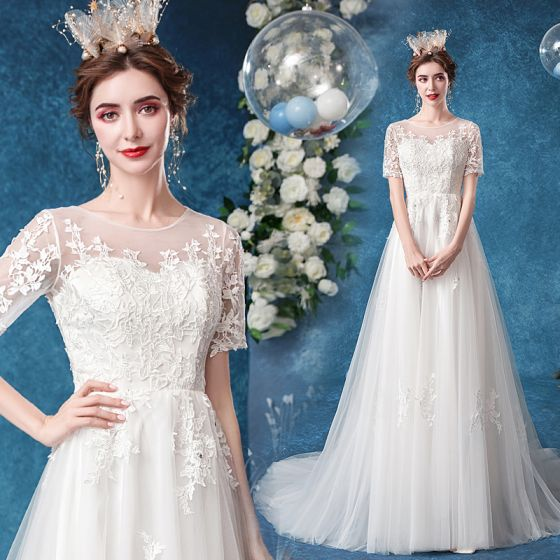 Elegant Ivory Wedding Dresses 2020 A-Line / Princess Scoop Neck Rhinestone Lace Flower Short Sleeve Court Train