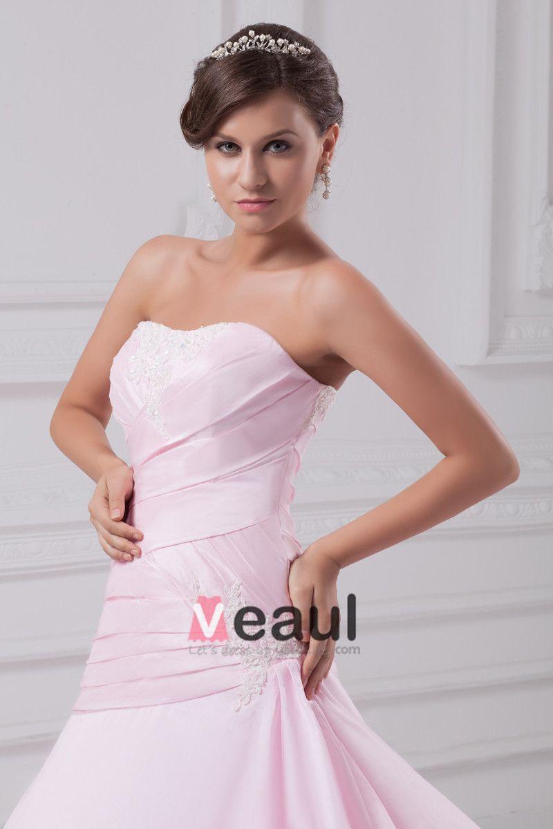 Satin Ruffle Flower Sweetheart Floor Length Ball Gown Women A Line Wedding Dress