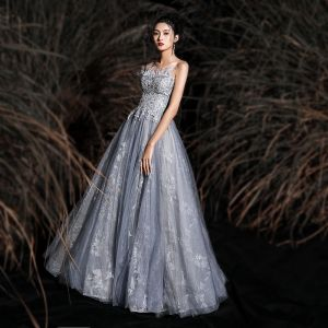 Charming Grey Prom Dresses 2020 A-Line / Princess Strapless Tassel Lace Flower Sequins Sleeveless Backless Floor-Length / Long Formal Dresses