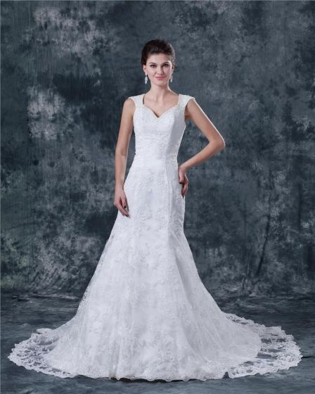 Satin Lace Applique Beaded Shoulder Straps Chapel A-line Bridal Gown Wedding Dress