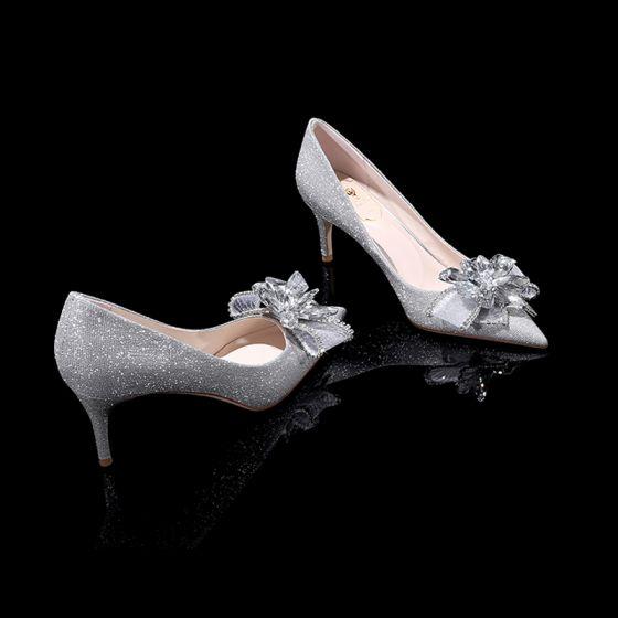Glittrande Bling Bling Silver Damskor 2019 Läder Beading Blomma Glittriga / Glitter Paljetter Afton Högklackade Spetsiga Brudskor