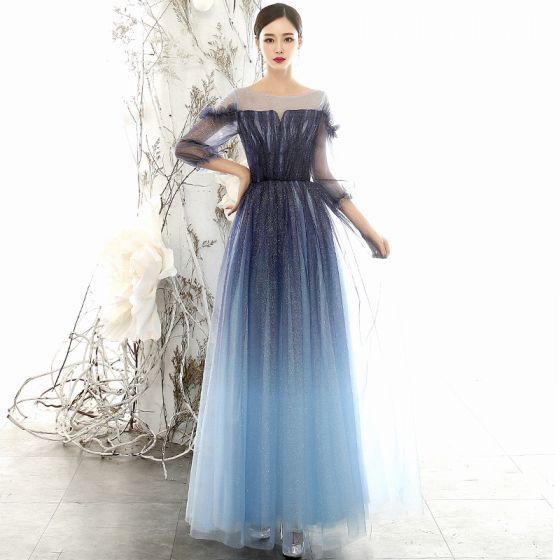 Affordable Navy Blue Gradient-Color Evening Dresses  2020 A-Line / Princess See-through Square Neckline Puffy 3/4 Sleeve Glitter Tulle Floor-Length / Long Ruffle Formal Dresses