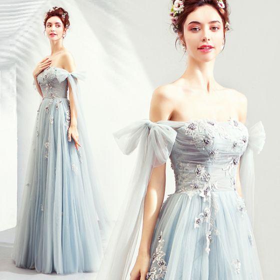 Elegantes Azul Cielo Vestidos de gala 2019 A-Line / Princess Fuera Del Hombro Con Encaje Flor Perla Bowknot Sin Mangas Sin Espalda Largos Vestidos Formales
