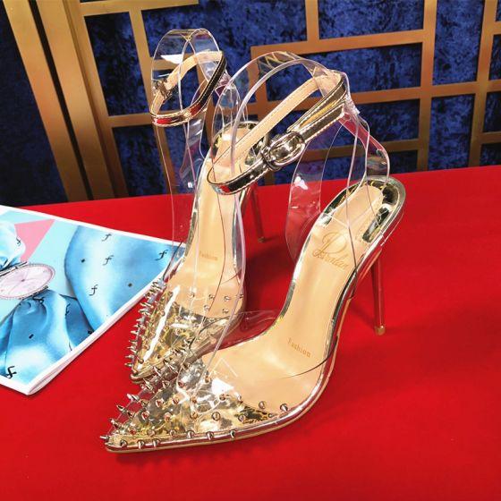 Encantador Oro Noche Remache Sandalias De Mujer 2020 Correa Del Tobillo 10 cm Stilettos / Tacones De Aguja Punta Estrecha Sandalias
