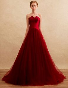20336bd663a Simple Prom Dresses 2016 Strapless Backless Burgundy Tulle Long Prom Dress