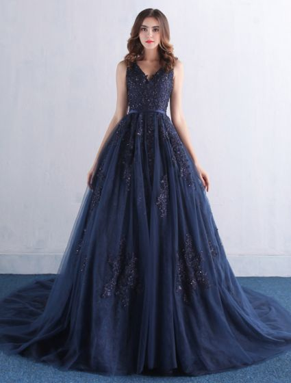 Elegant Prom Dresses 2016 V-neck Applique Lace With Sequins Navy Blue Tulle Long Dress