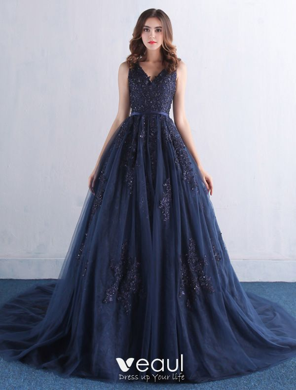 Sequins Navy Blue Tulle Long Dress