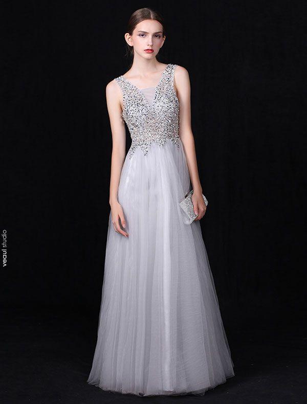 Sexy Long V-neck Evening Dress Grey Backless Formal Dress Beaded Sequins
