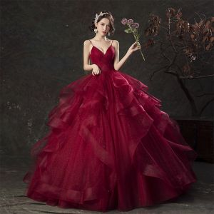 Charming Quinceañera Burgundy Prom Dresses 2019 Ball Gown Spaghetti Straps Glitter Sleeveless Backless Cascading Ruffles Floor-Length / Long Formal Dresses