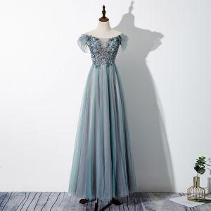 Fine Jadegrønn Selskapskjoler 2020 Prinsesse Av Skulderen Beading Paljetter Blonder Blomst Korte Ermer Ryggløse Lange Formelle Kjoler