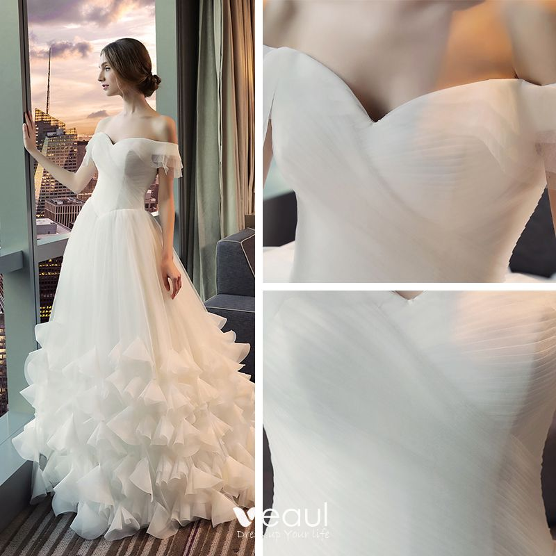 Chic / Beautiful Hall Wedding Dresses 2017 White A-Line / Princess Floor-Length / Long Off-The-Shoulder Short Sleeve Backless Flower Appliques