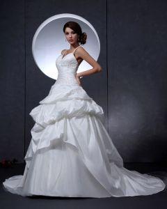 Taft Perlen Bestickt Gericht Bridal Ballkleid Brautkleid
