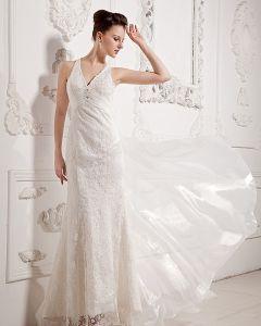 Chiffon Rüschen V-ausschnitt Gericht Mantel Hochzeitskleid Brautkleider