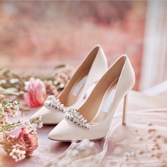 Brillante Marfil Zapatos de novia 2019 Crystal Rhinestone Lentejuelas 10 cm Stilettos / Tacones De Aguja Punta Estrecha Boda Tacones