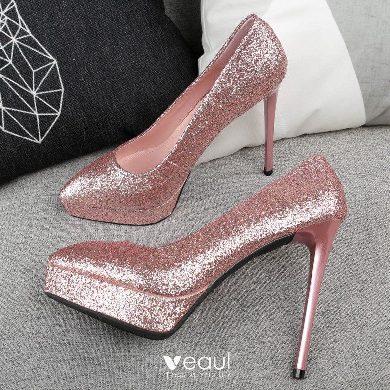 Sparkly Candy Pink Evening Party Pumps