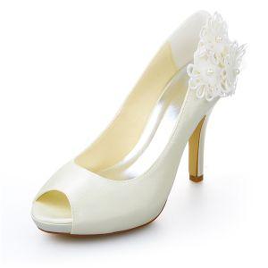 Ivory Brautschuhe Satin Stilettos Pumps Mit Spitze Blumen