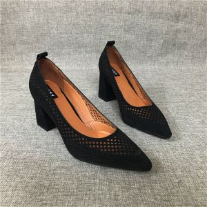 Modest / Simple Black Casual Pierced Womens Sandals 2020 Leather 7 cm Thick Heels Pointed Toe Sandals