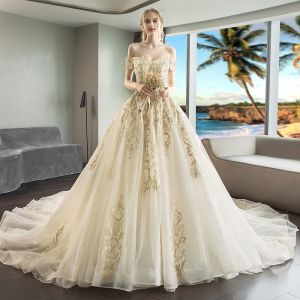 Luxury / Gorgeous Champagne Wedding Dresses 2018 A-Line / Princess Appliques Lace Pearl Off-The-Shoulder Backless Short Sleeve Royal Train