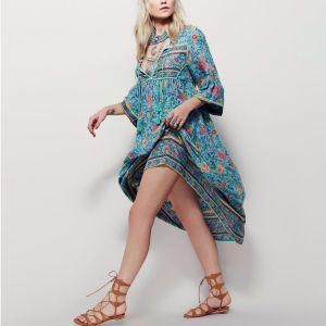Bohemia Sky Blue Maxi Dresses 2018 Street Wear V-Neck 3/4 Sleeve Printing Flower Tassel Tea-length Women's Clothing
