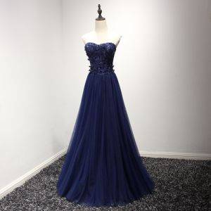 Chic / Beautiful Formal Dresses 2017 Evening Dresses  Ink Blue A-Line / Princess Floor-Length / Long Sweetheart Sleeveless Backless Lace Appliques Beading