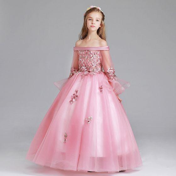 Schöne Pink Mädchenkleider 2017 Ballkleid Off Shoulder Lange Ärmel Applikationen Blumen Lange Rüschen Kleider Für Hochzeit