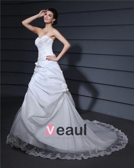 Alskling Halsen Applikationer Domstol A-line Brudklänningar Bröllopsklänningar