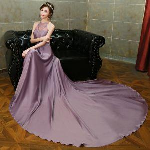 Elegante Violett Abendkleider 2017 A Linie Neckholder Charmeuse Rückenfreies Perlenstickerei Strass Handgefertigt Abend Festliche Kleider