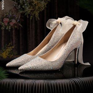 Charmig Rosa Guld Brudskor 2020 Läder Rosett Rhinestone 8 cm Stilettklackar Spetsiga Bröllop Pumps