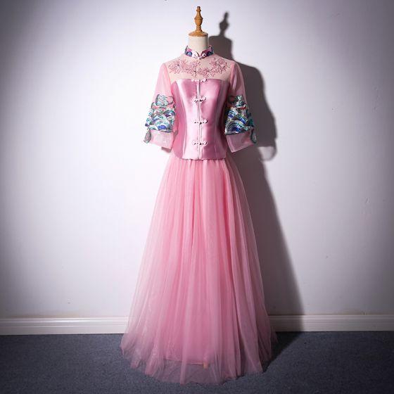 Kinesisk Stil Sukkertøyrosa Lange Selskapskjoler 2018 Prinsesse Høy Hals Tyll Appliques Ryggløse Beading Rhinestone Aften Formelle Kjoler