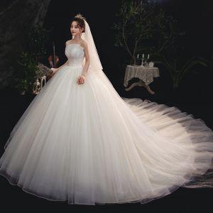 princess wedding a line ivory strapless dress