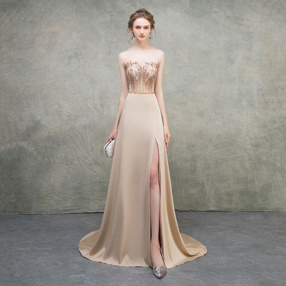 Luxury / Gorgeous Khaki Evening Dresses  2018 Empire Sweetheart Sleeveless Beading Sash Court Train Split Front Ruffle Backless Formal Dresses