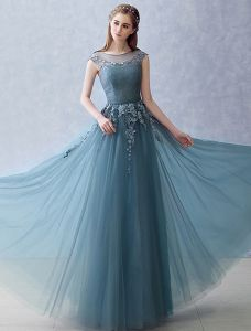 Elegant Strapless Evening Dress 2016 A-line Scoop Neckline Applique Lace Ruffle Tulle Long Dress