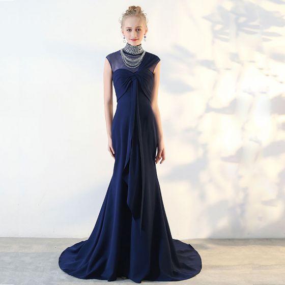 Modern / Fashion Royal Blue Evening Dresses  2018 Tulle Beading Rhinestone Evening Party Formal Dresses