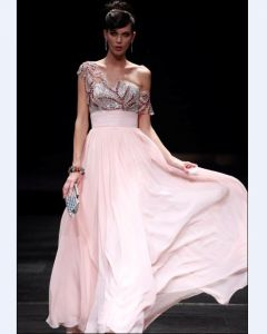 Sloping Chiffon Floor Length Women's Evening Dress
