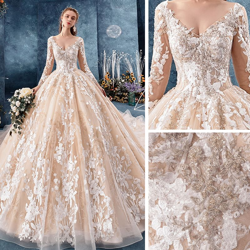 Romantic Champagne See-through Wedding Dresses 2019 Ball Gown V-Neck Long Sleeve Backless Appliques Lace Beading Glitter Tulle Chapel Train Ruffle