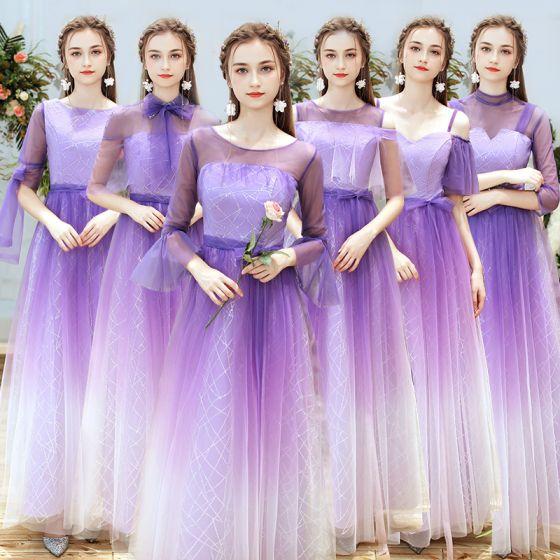 83936cac87 Elegantes Lila Degradado De Color Vestidos De Damas De Honor 2019 A-Line    Princess Glitter Lentejuelas ...