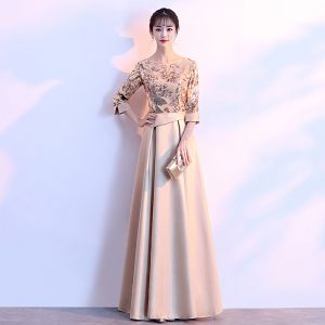 Chic / Beautiful Gold Evening Dresses  2018 A-Line / Princess Charmeuse U-Neck Beading Sequins Zipper Glitter Evening Party Formal Dresses