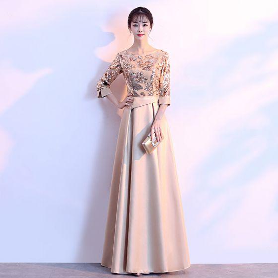 Chic / Beautiful Gold Evening Dresses  2018 A-Line / Princess Charmeuse U-Neck Beading Sequins Zipper Glitter Evening Party Formal Dresses