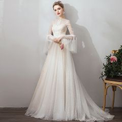 Affordable Champagne Outdoor / Garden Wedding Dresses 2019 A-Line / Princess See-through Square Neckline Bell sleeves Backless Spotted Tulle Sweep Train Ruffle