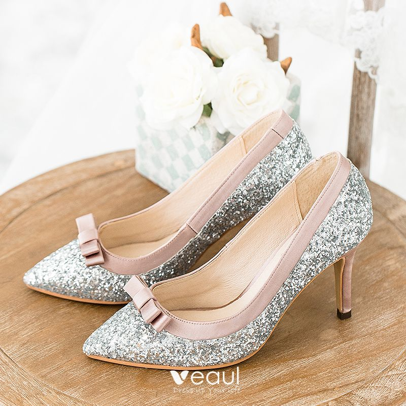 9926151fd78 Sparkly Silver Wedding Shoes 2018 Leather Sequins Bow 8 cm Stiletto ...