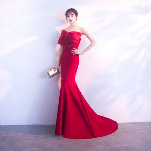 Chic / Belle Bordeaux Robe De Soirée 2017 Trompette / Sirène Noeud Amoureux Dos Nu Sans Manches Train De Balayage Robe De Ceremonie