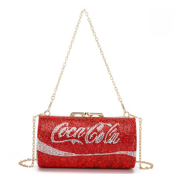 Sparkly Silver Rhinestone Round Coke Clutch Bags 2021