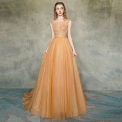 Illusion Orange See-through Evening Dresses  2019 A-Line / Princess Square Neckline Sleeveless Appliques Lace Sash Sweep Train Ruffle Backless Formal Dresses