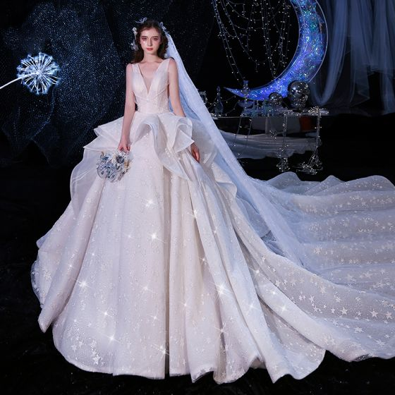 Luxury / Gorgeous Champagne Wedding Dresses Ball Gown 2020 Deep V-Neck Sleeveless Backless Glitter Tulle Appliques Lace Beading Cathedral Train Ruffle