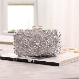 Chic / Beautiful Silver Square Clutch Bags 2020 Metal Beading Pearl Rhinestone