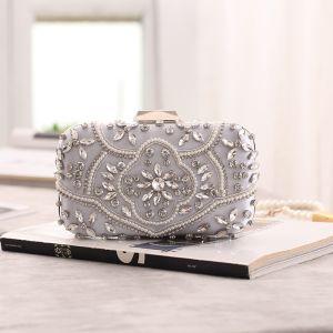 Chic / Beautiful Silver Square Clutch Bags 2020 Metal Beading Pearl Rhinestone
