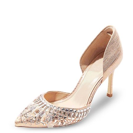 Chic / Beautiful Champagne Wedding Shoes 2019 Leather Rhinestone 8 cm Stiletto Heels Pointed Toe Wedding High Heels