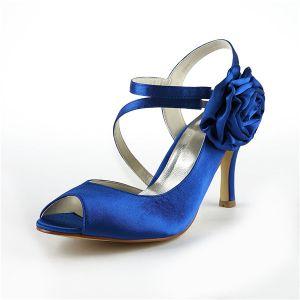 Chics Chaussures De Mariée Bleu Peep Toe Stilettos Satin Escarpins À Lanières