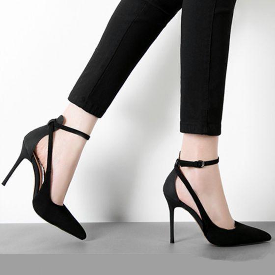 Fine Svart Fest Sandaler Dame 2020 Suede Ankelstropp 10 cm Stiletthæler Spisse Sandaler