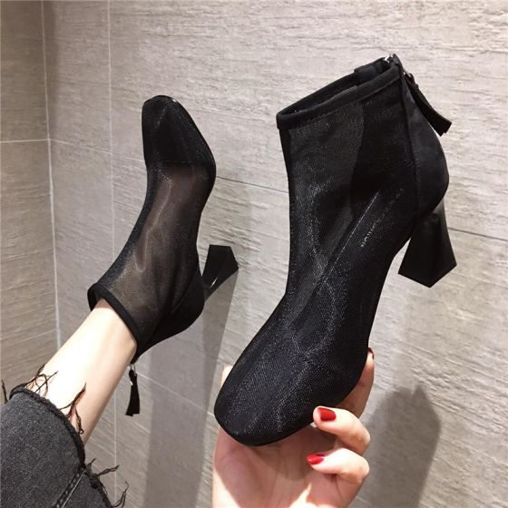 Fashion Black Casual See-through Womens Boots 2020 Ankle 7 cm Thick Heels Pointed Toe Boots